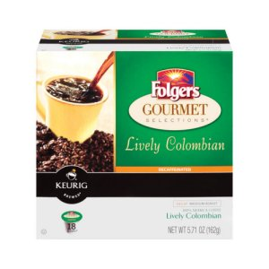 Folgers Decaf Lively Colombian 18 K-Cups Medium Roast