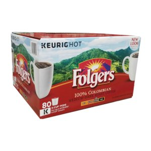 Folgers Lively Colombian, 80 K Cups Keurig