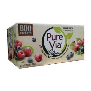 Pure Via Stevia Natural Sweetener 800 Packets Zero Cal